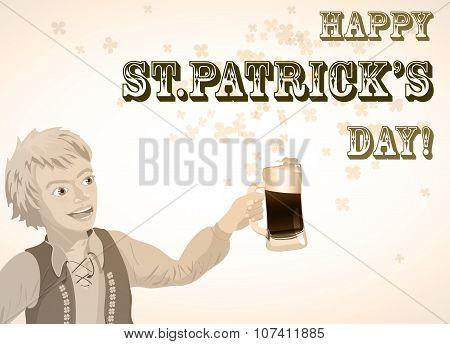 St. Patricks Day vintage shamrock beer and man