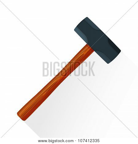 Vector Flat Sledgehammer Illustration Icon.