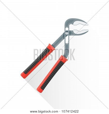 Vector Flat Water Pump Pliers Illustration Icon.