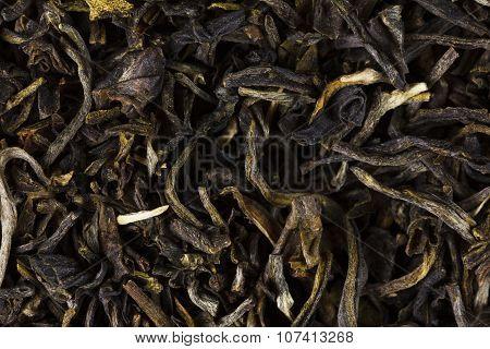 Green Tea Dry Leaves. Macro, Background