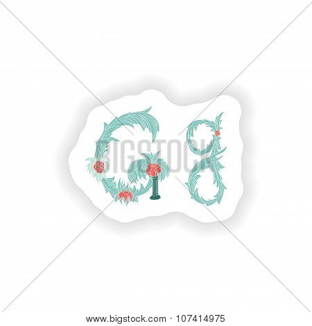 stiker Abstract letter G logo icon  in Blue tropical style