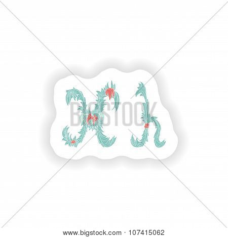 stiker Abstract letter H logo icon  in Blue tropical style