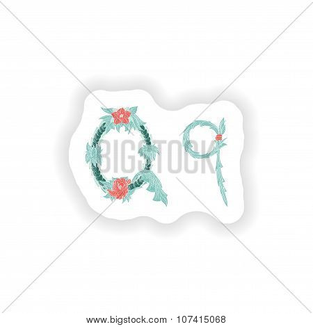 stiker Abstract letter Q logo icon  in Blue tropical style