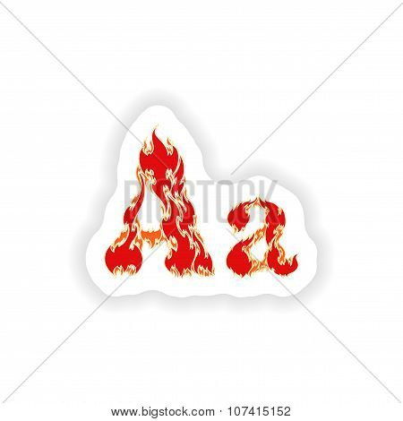 sticker fiery font red letter A on white background