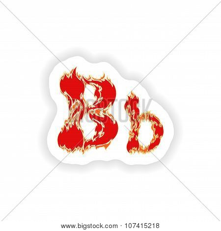 sticker fiery font red letter B on white background