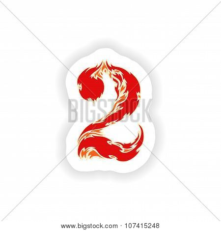 sticker fiery font red number 2 on white background
