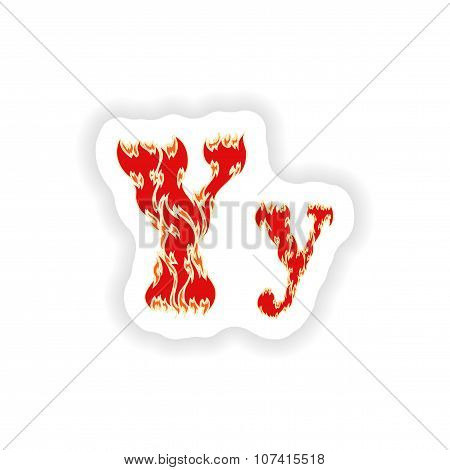 sticker fiery font red letter Y on white background