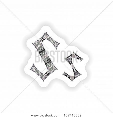 sticker Low poly letter S in gray mosaic polygon