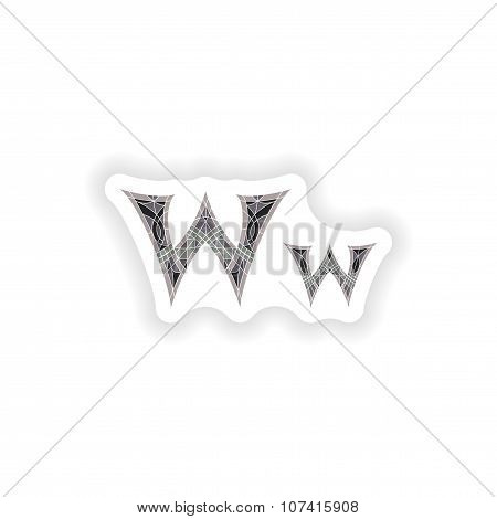 sticker Low poly letter W in gray mosaic polygon
