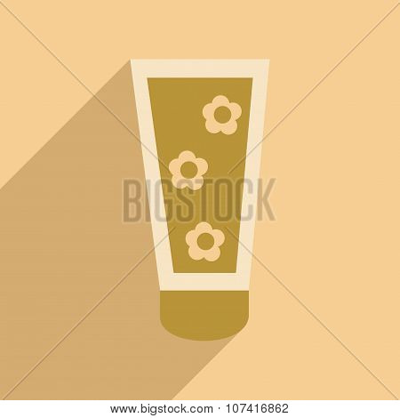 Flat with shadow icon and mobile application face cream