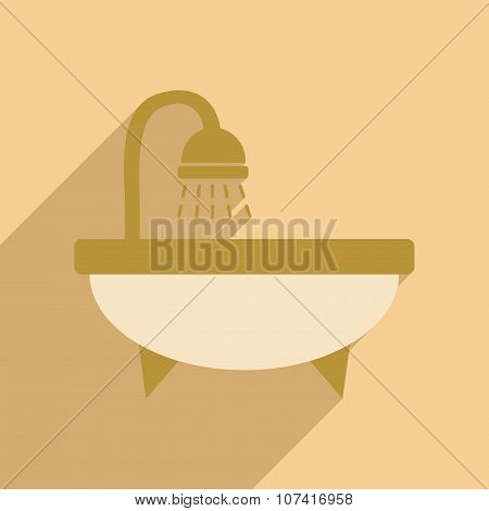 Flat with shadow icon and mobile application bathtub