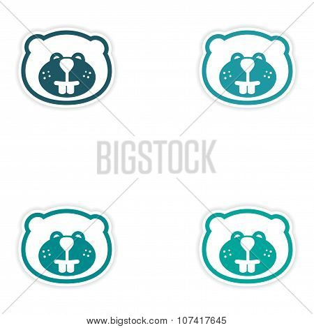 Set of stickers Canadian beaver on white background