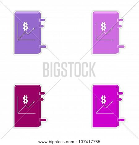 Stylish assembly sticker on paper economic report on white background