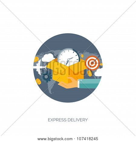 Flat vector illustration backgrounds set. International delivery and worldwide postage. Emailing ,on