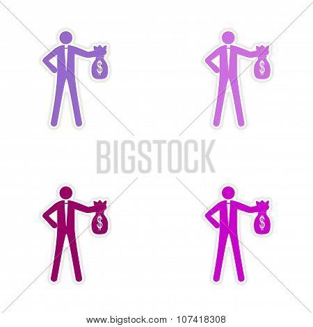 Set of stylish sticker on paper man with bag money