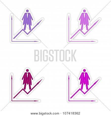 Set of stylish sticker on paper man economic schedule