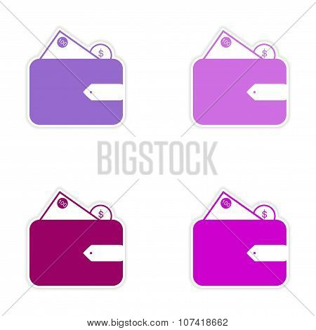 Stylish assembly sticker on paper purse and money