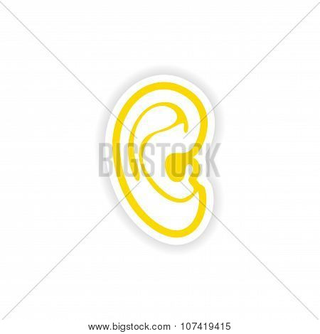 paper sticker  white background human ear