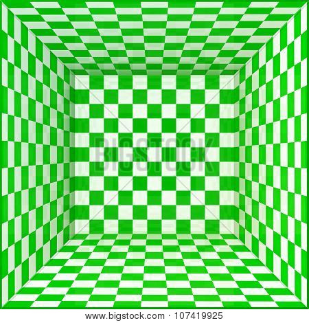 Green and white chessboard walls room background