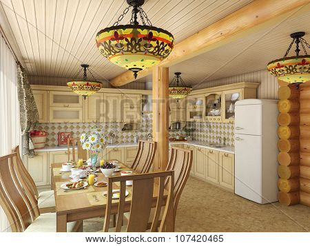 3d render cozy kitchen in the house of the carcass