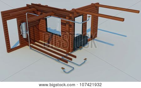 3D Illustration Of The Scheme Of The Device Of The Built-in Vacuum Cleaner