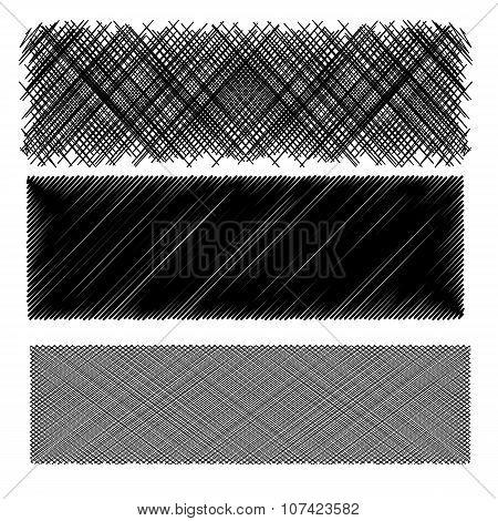 Set of Black Diagonal Strokes Patterns