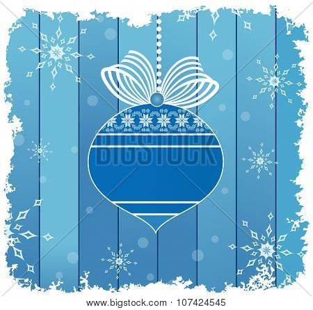 Blue bauble and ribbon over blue planks and snowy frame and flakes - room for your logo or input on the bauble