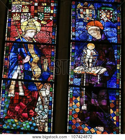Stained Glass Of Saint Clement And Saint Anthony In Cathedral Of Leon, Spain