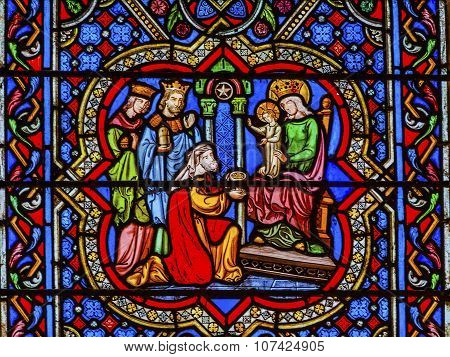 Three Kings Mary Jesus Christ Stained Glass Notre Dame Cathedral Paris France