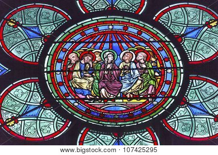 Mary Jesus Christ Disciples Stained Glass Notre Dame Cathedral Paris France