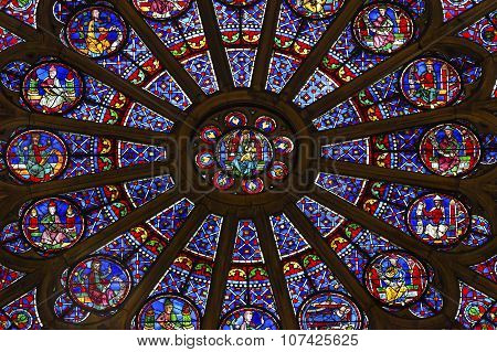 North Rose Window Mary Jesus Stained Glass Notre Dame Cathedral Paris France