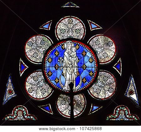 White Mary Jesus Christ Stained Glass Notre Dame Cathedral Paris France
