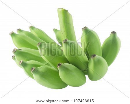 Raw Green Banana Fruits On A White Background