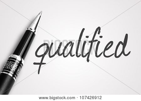 Pen Writes Qualified On White Blank Paper