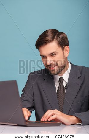 Attractive male reporter is preparing for his speech