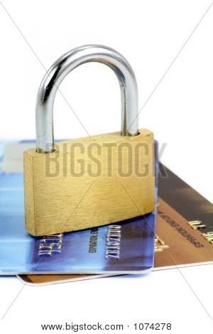 Close Up Of Credit Card And Lock