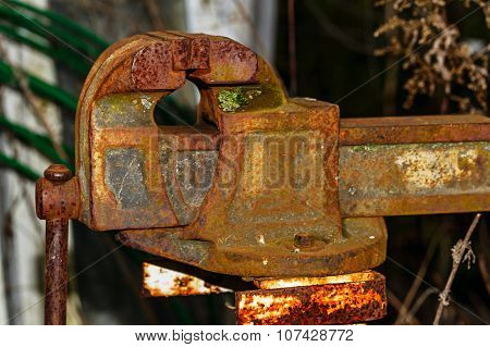 Old Rusty Blacksmith Vise.