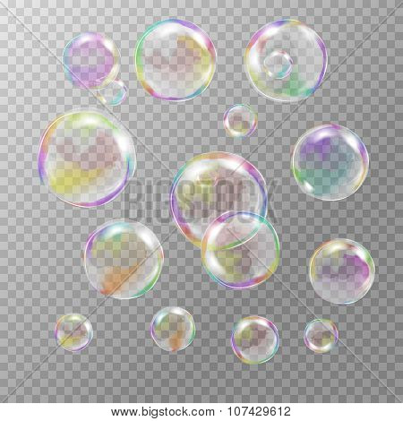 Set of multicolored transparent soap bubbles