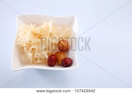 snow jelly fungus chinese traditional medicine with red dates