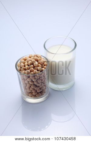 close up soybeans and soy milk