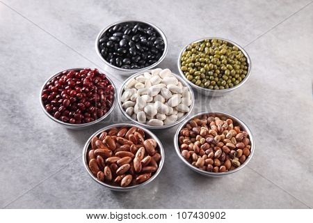 top view of the beans on marble table