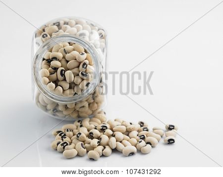 Black eyed peas in a glass container