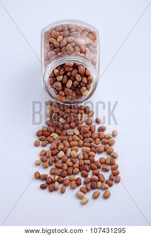 Nigerian brown beans in a glass container
