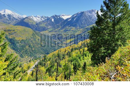 Snow Covered Mt Sopris During Foliage Season In Colorado