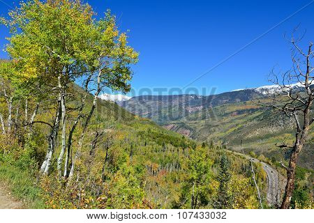 Landscape View Of Snow Covered Mountains In Colorado