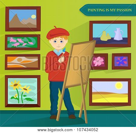 Male artist painting in his workroom. Vector.