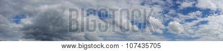 Panorama of cloudy sky over horizon.