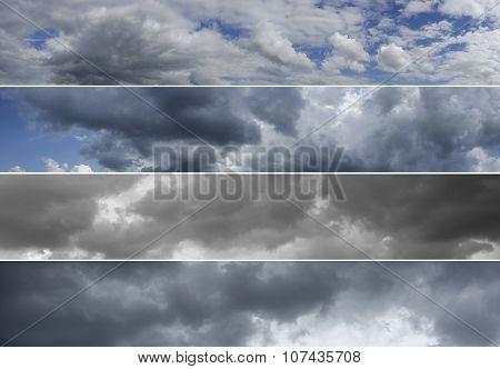 Four Panoramas Of Cloudy Sky.