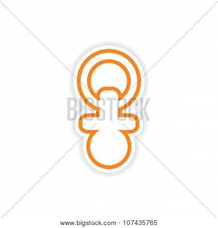 paper sticker nipple toddler on white background