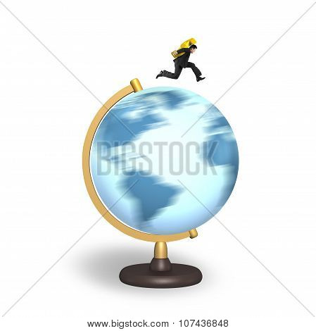 Businessman Carrying Dollar Sign Running On Rotating Globe